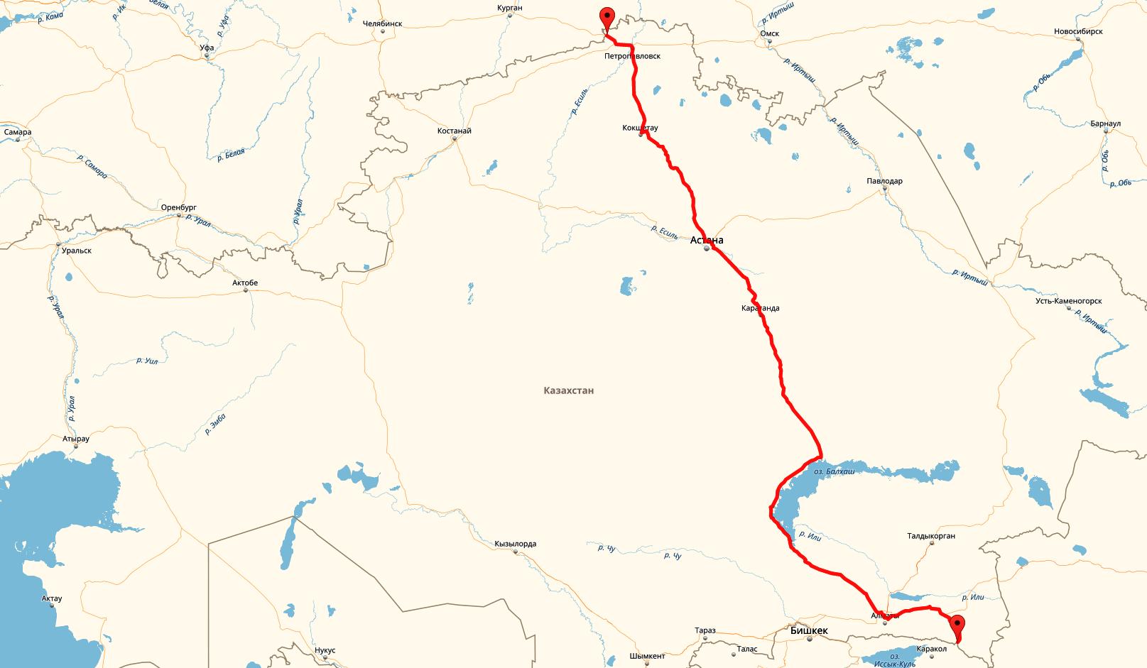 Маршрут по территории Казахстана